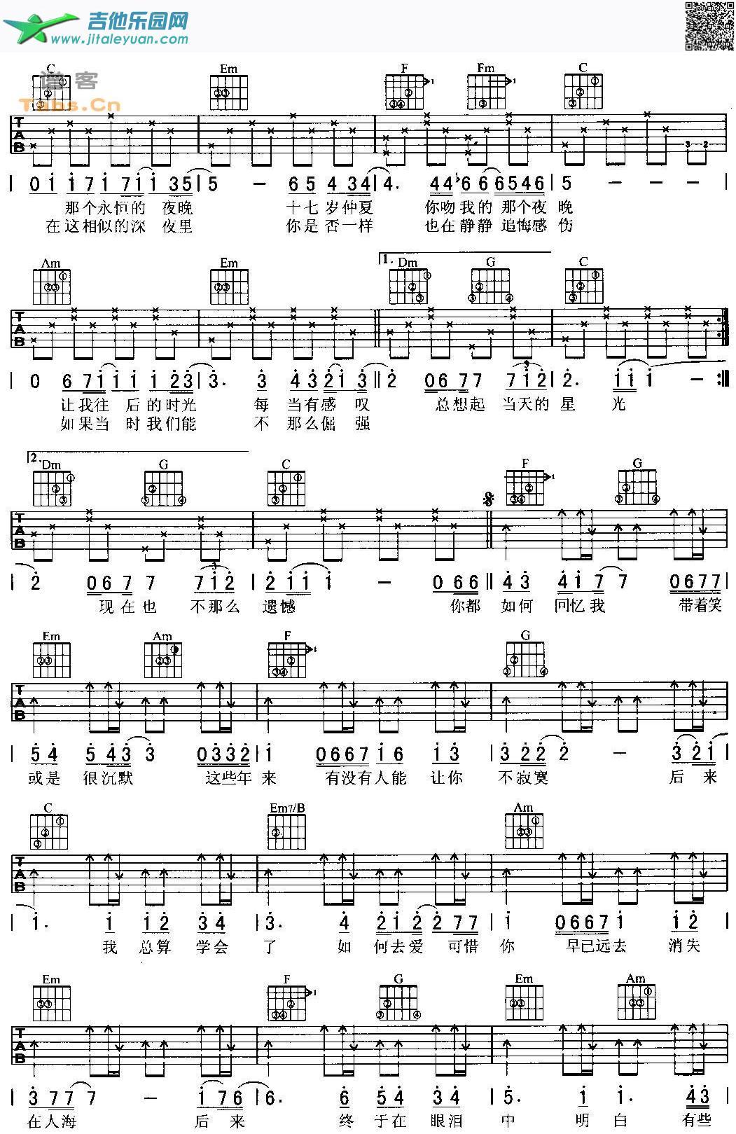 后来吉他谱六线谱和弦版_刘若英 __吉他谱